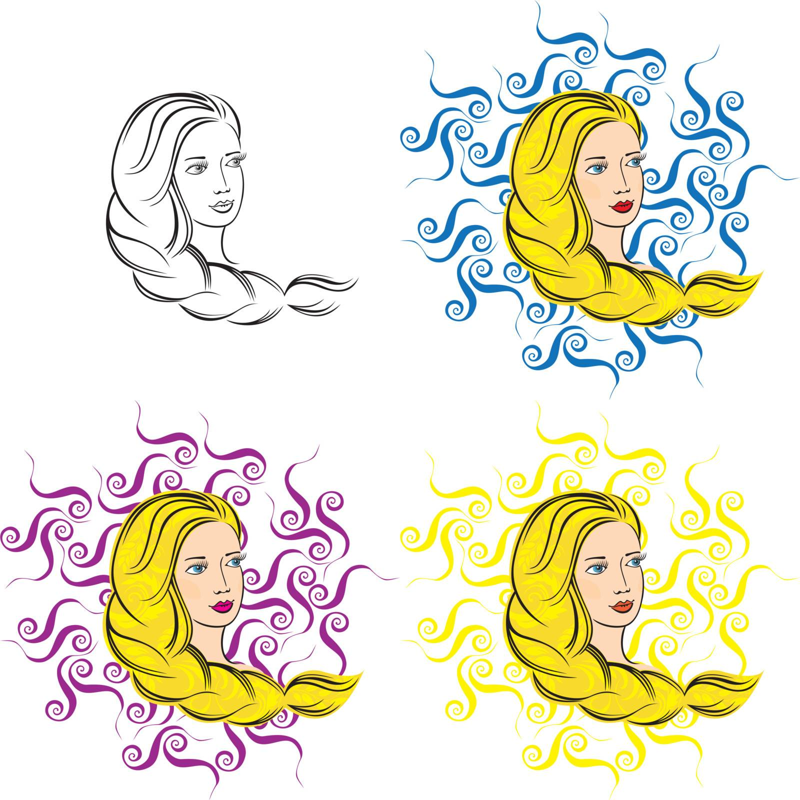 Hand-drawn slavonic girl on a curly background