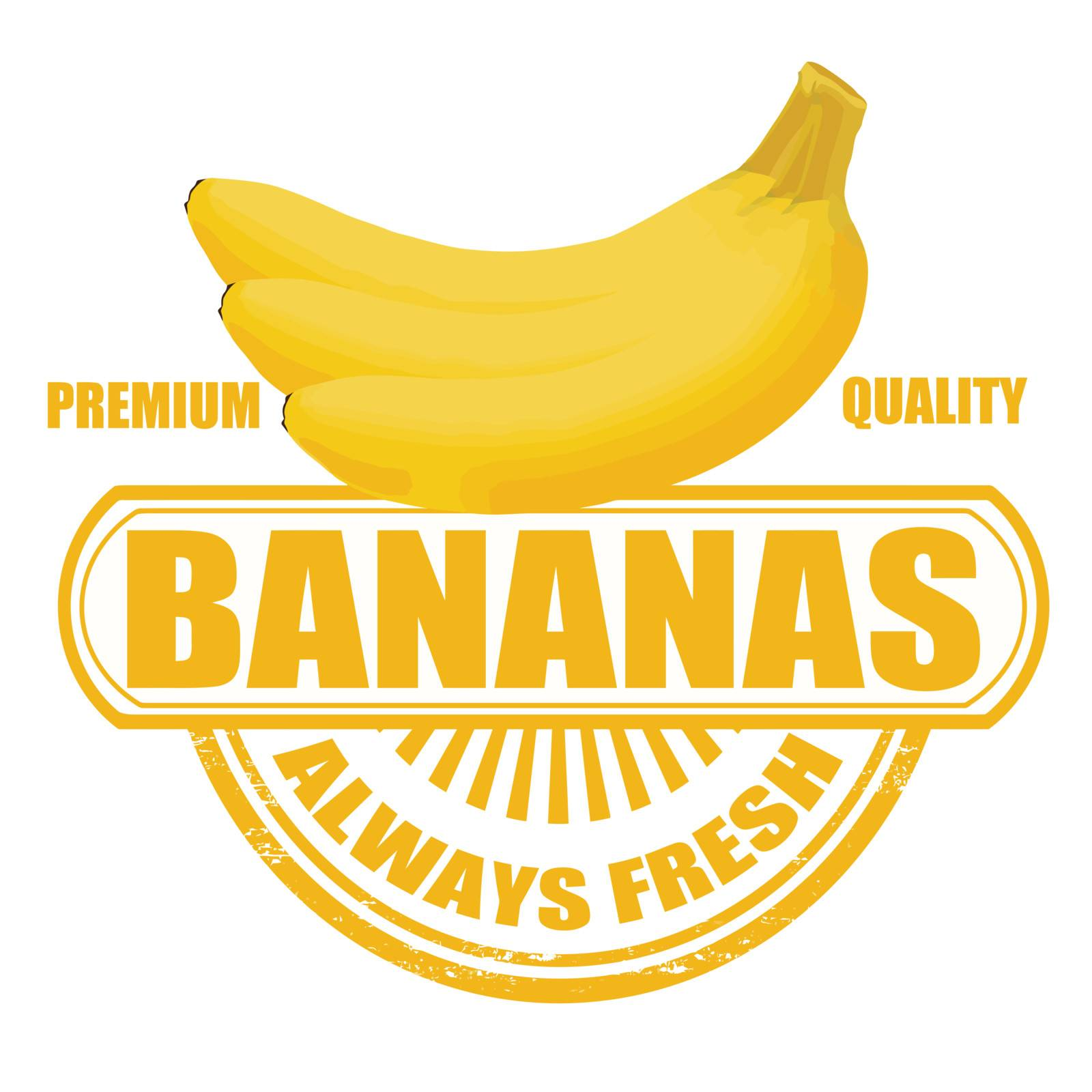 Grunge rubber stamp with bananas and the text bananas written inside, vector illustration