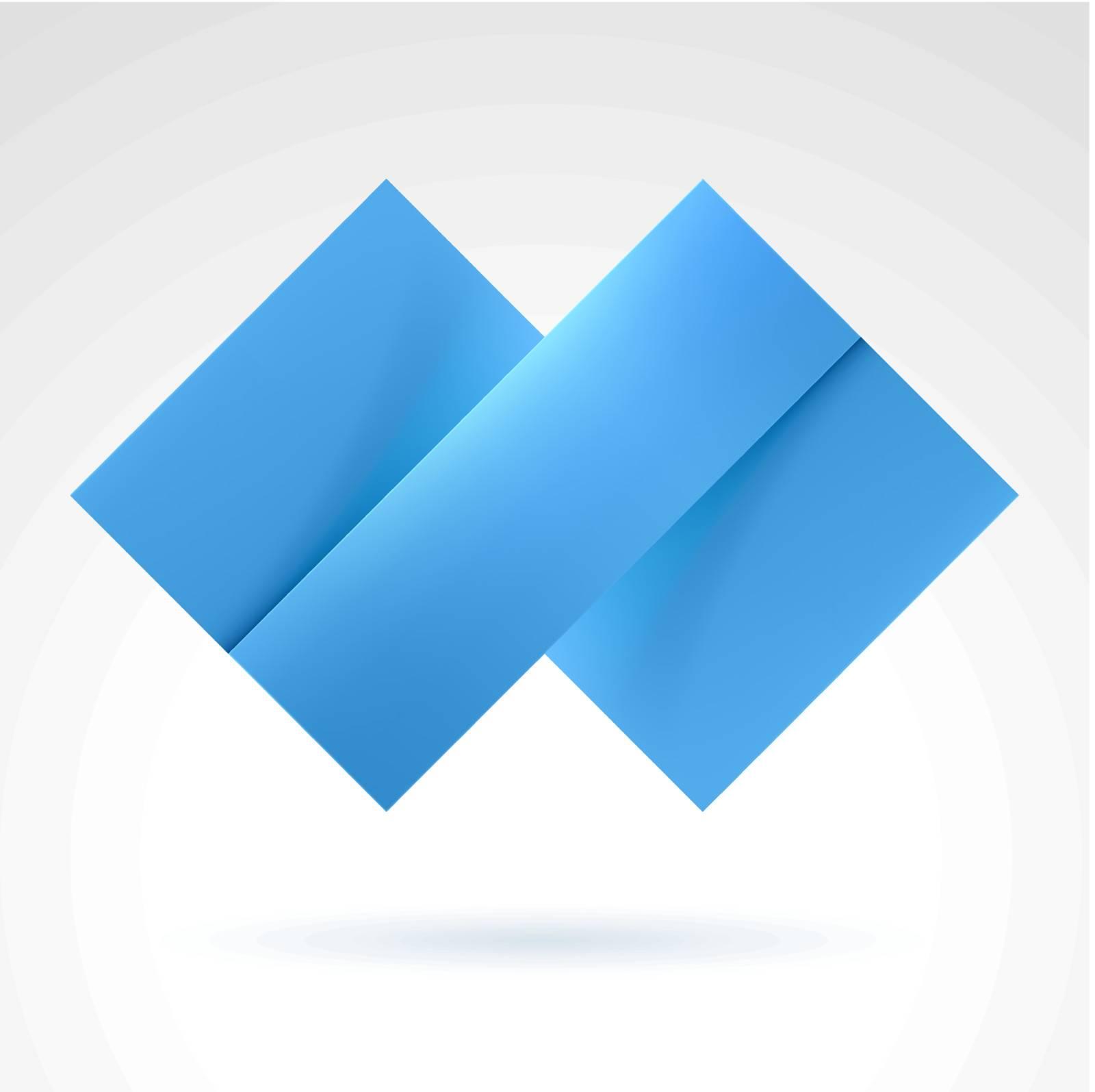 Abstract Blue Tile. Illustration on white for design
