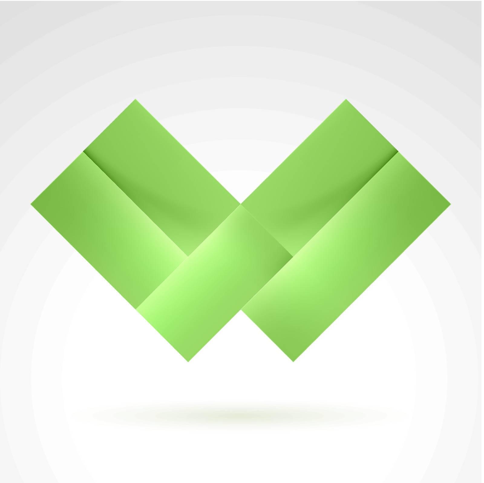 Abstract Green Tile. Illustration on white for design