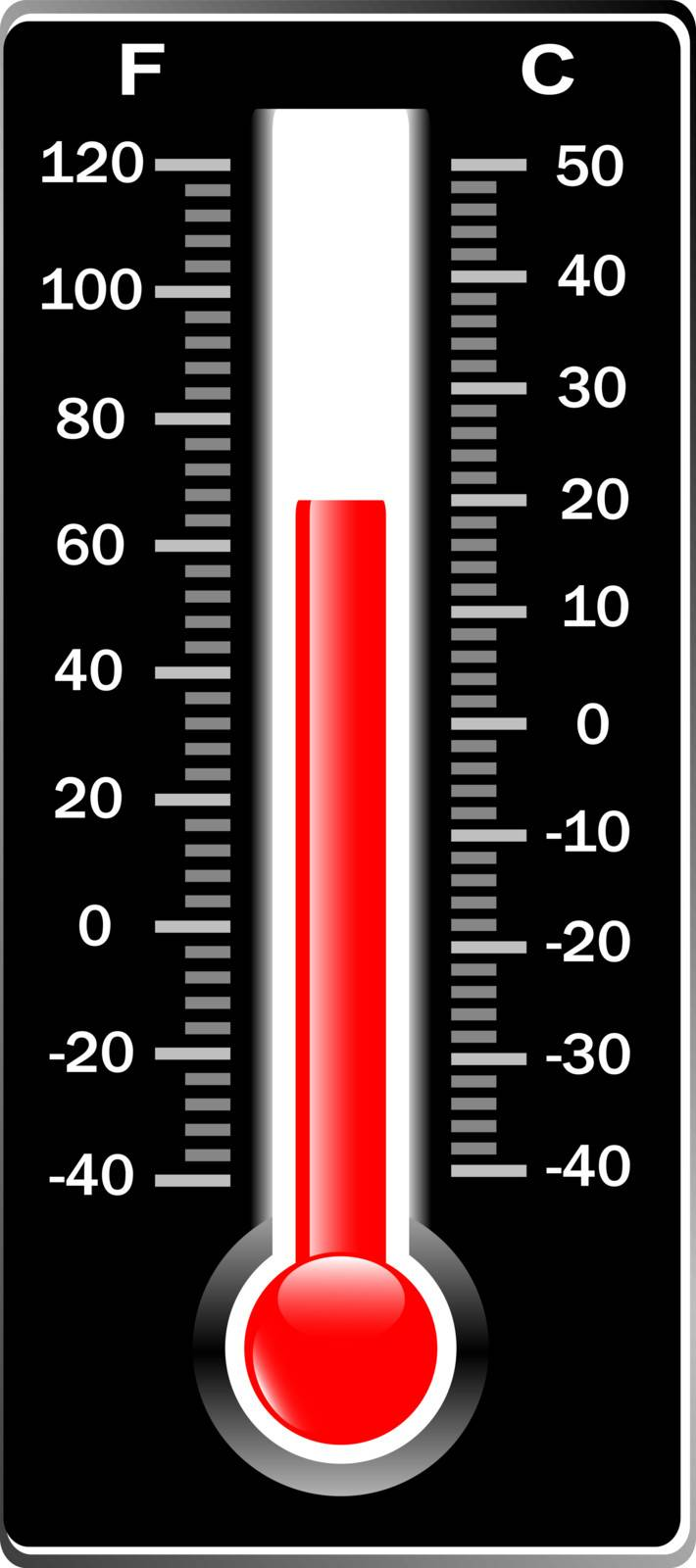 Thermometer. Vector. Celsius and Fahrenheit. Isolaetd on white