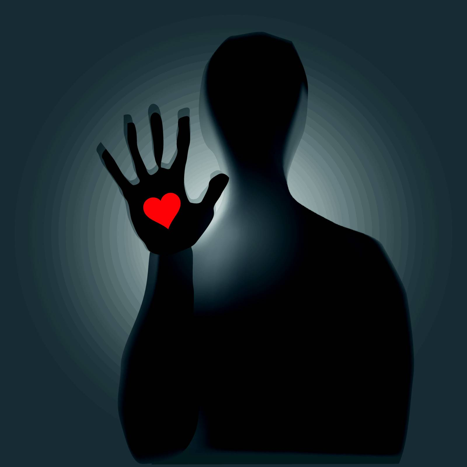 Heart in hand, a mystical figure. Vector illustration.