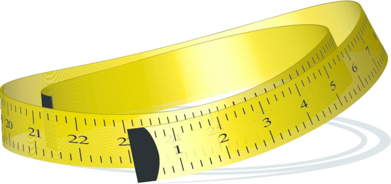 yellow measuring tape against white background, vector art illustration