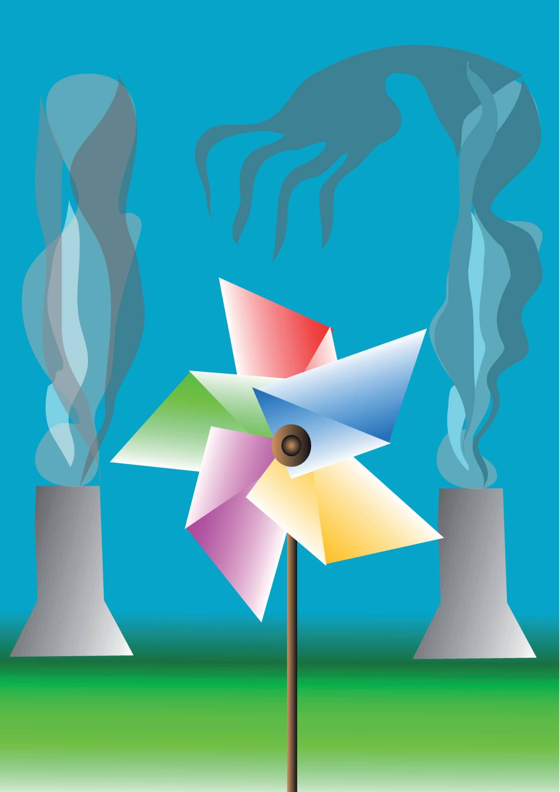 environmental contamination. children's windmill against industrial pipes