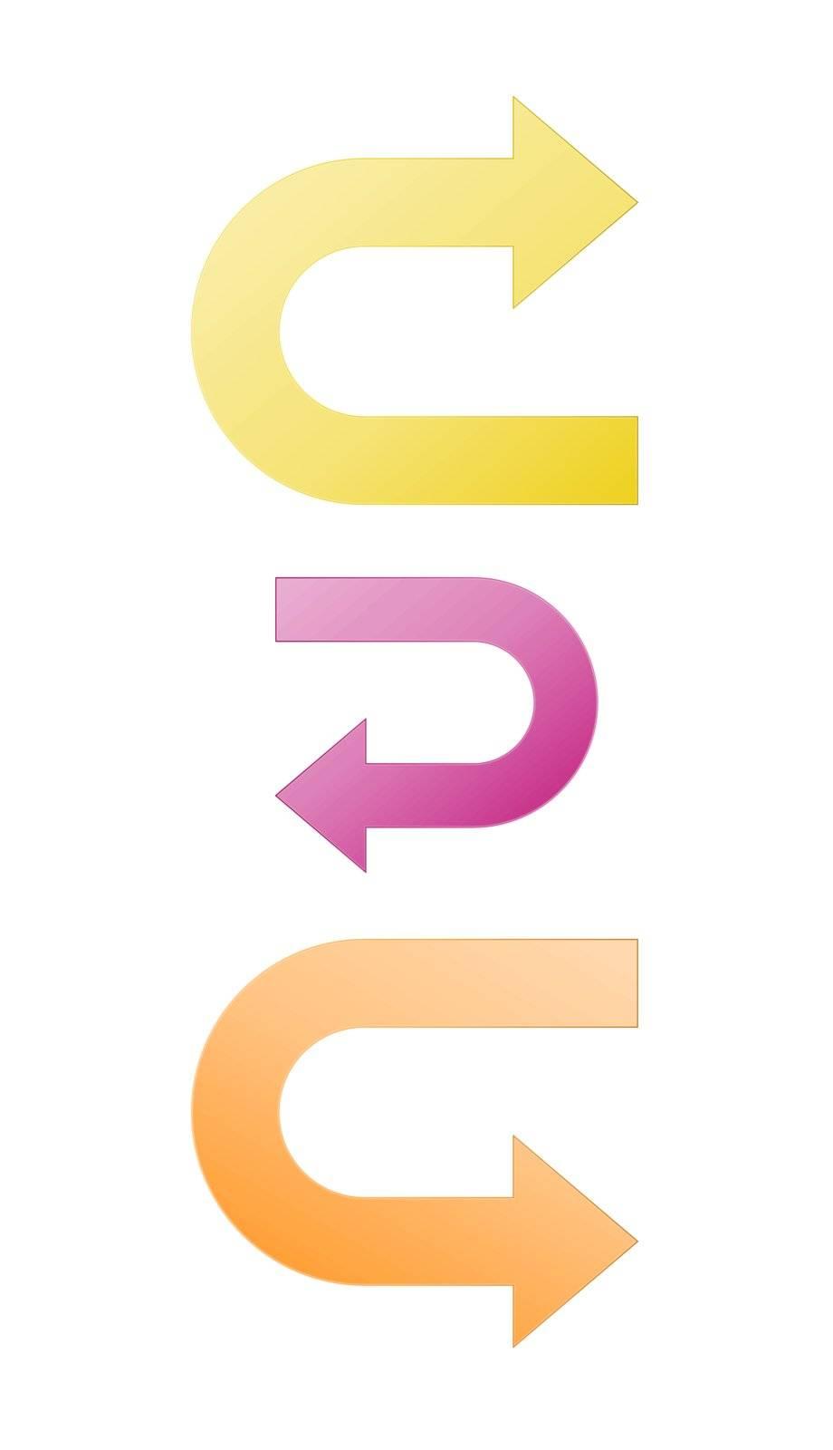 Set of yellow, purple and orange turn graphic element