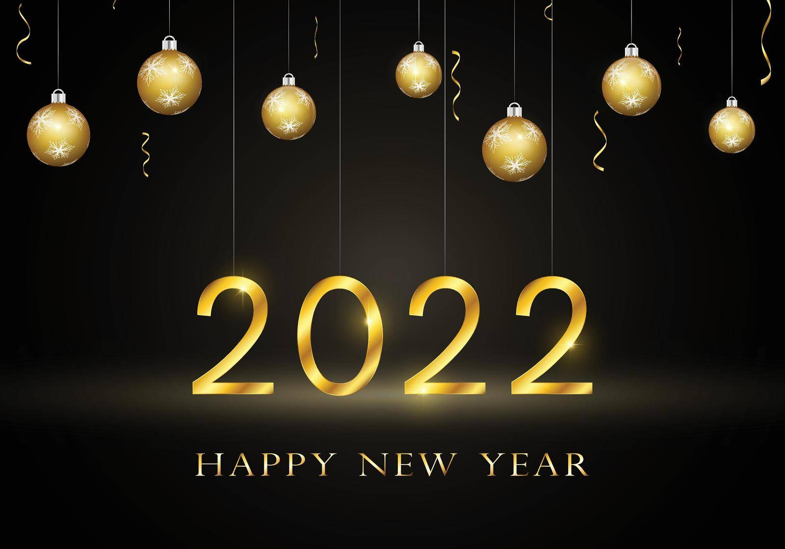 2022 Happy New Year background with gold shiny numbers and letters. Hanging christmas tree ornaments, falling golden confetti. Dark celebration design with lights. 3D illustration.