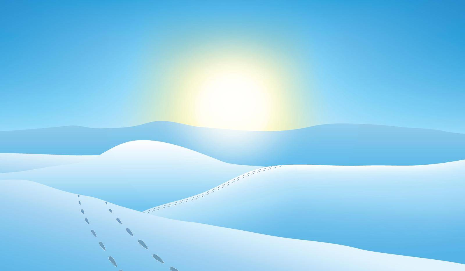 Snowy mountains at sunset. Blue winter landscape vector illustration.