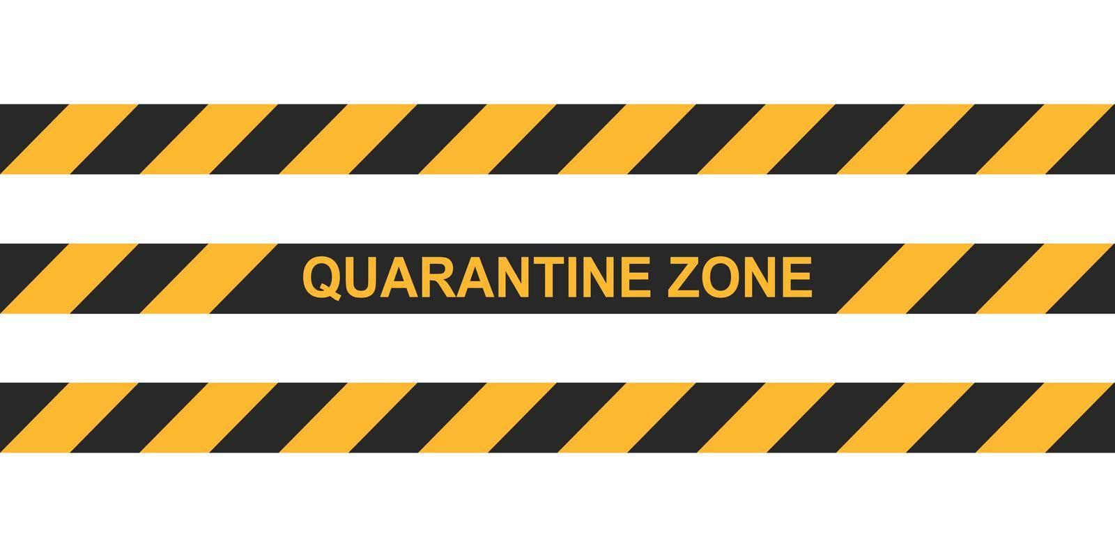 Danger tape quarantine zone. Warning tape fencing. Black and yellow vector diagonal stripes. Epidemic covid-19 orange tape quarantine zone inscription by koksikoks