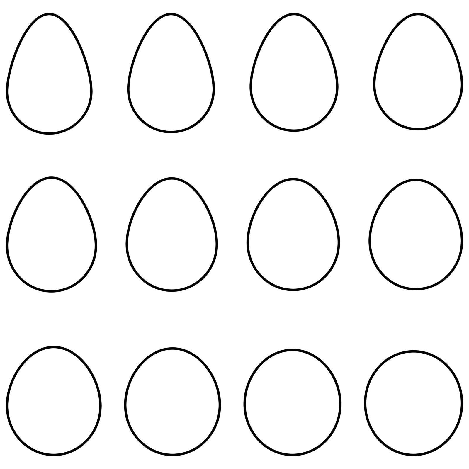 Set egg shape vector set egg template with different shape for Easter by koksikoks