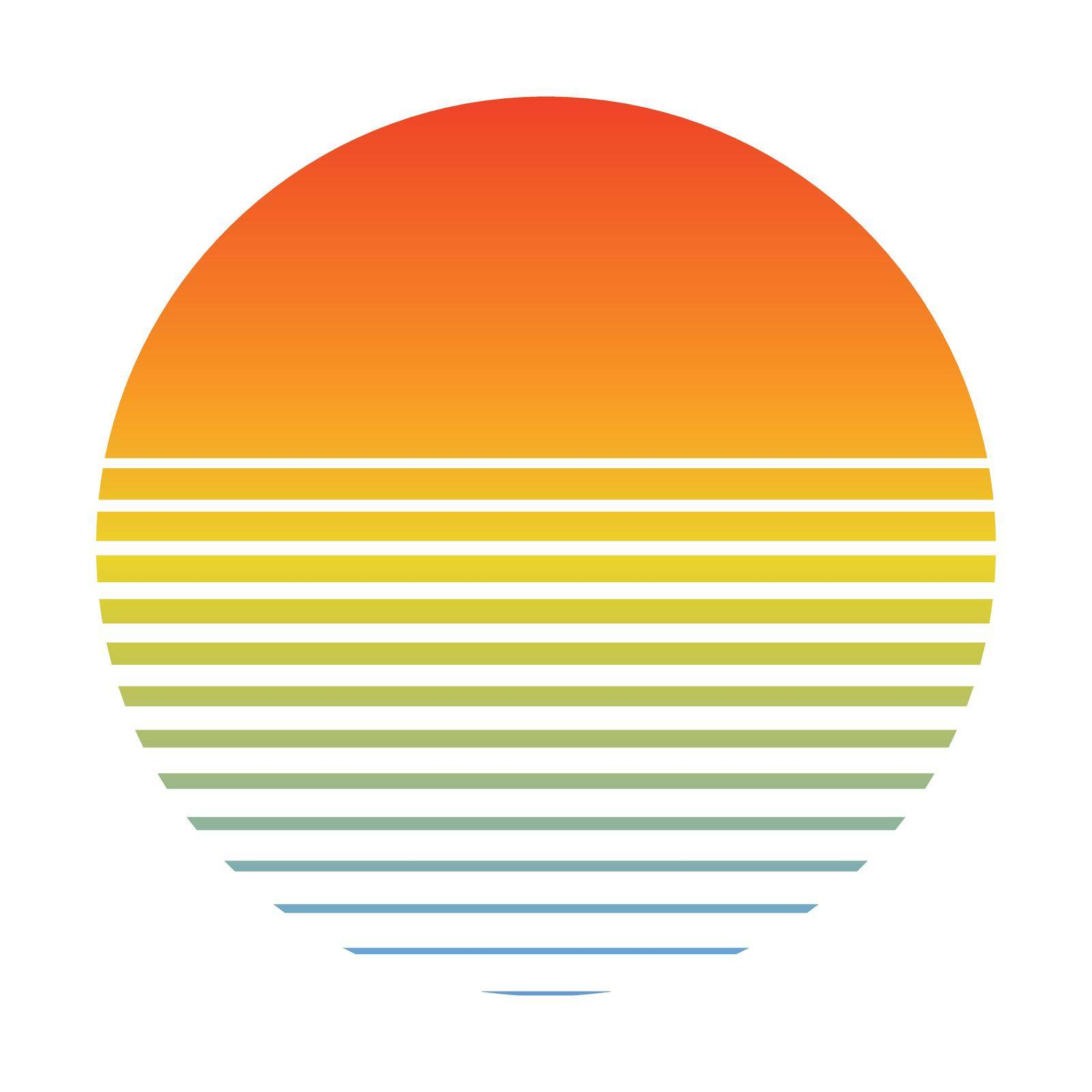 Retro sunset over the sea with gradient silhouette of sun and water. Vintage style summer logo icon style 80s 90s by koksikoks