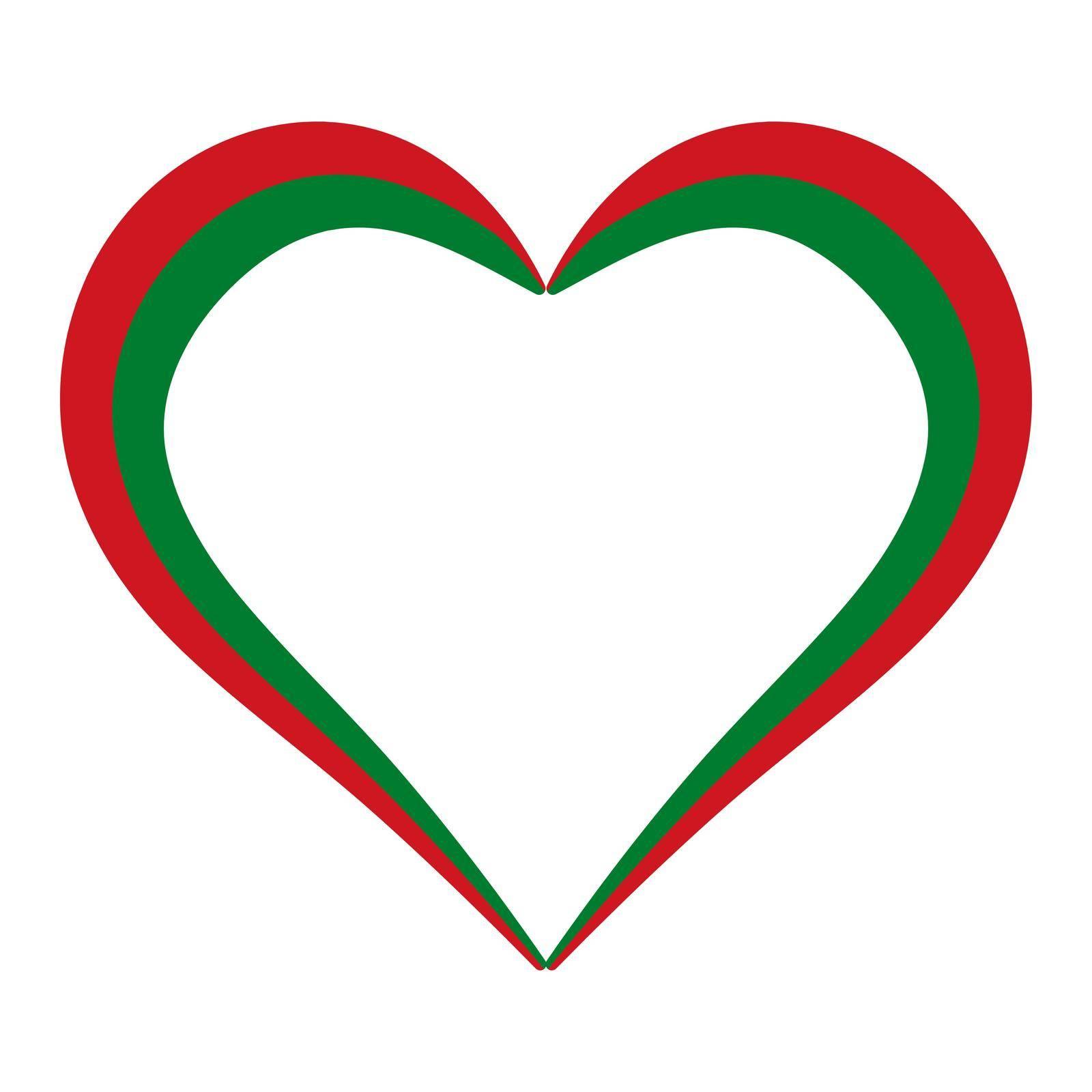 Heart shape flag Belarus, vector I love Belarus, outline calligraphy heart color flag by koksikoks
