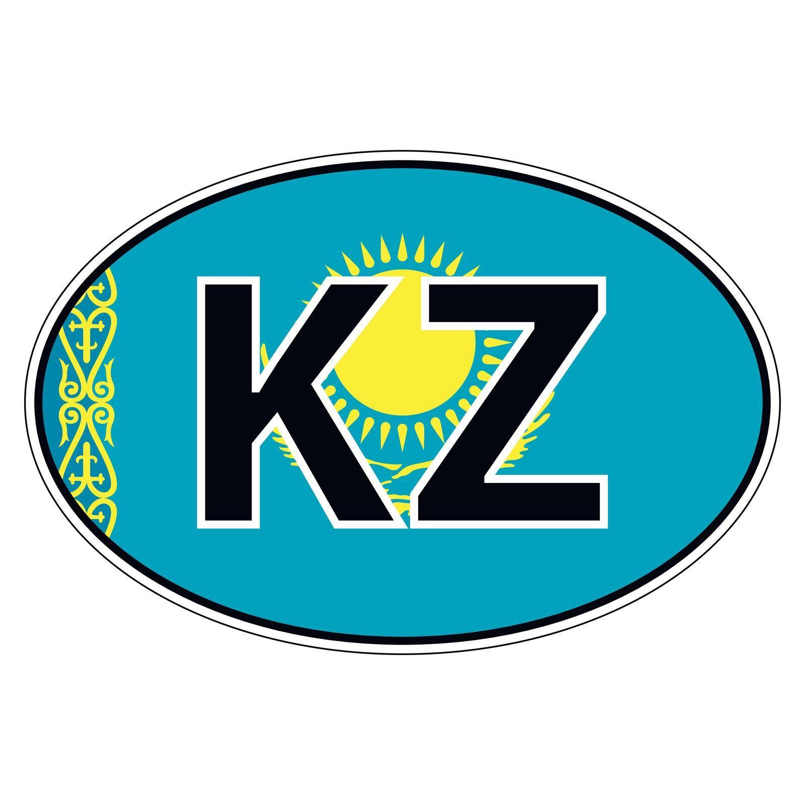 Sticker on car, flag kazakhstan, kazakhstani by koksikoks