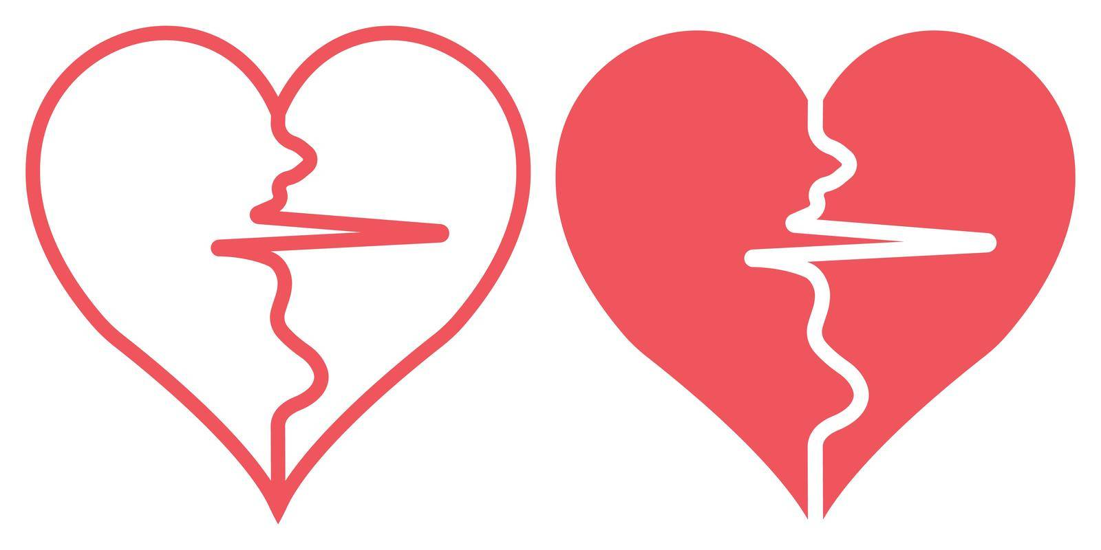 two halves of the heart separated by the pulse sign, vector pulse heart symbol of health and sport healthy lifestyle concept by koksikoks
