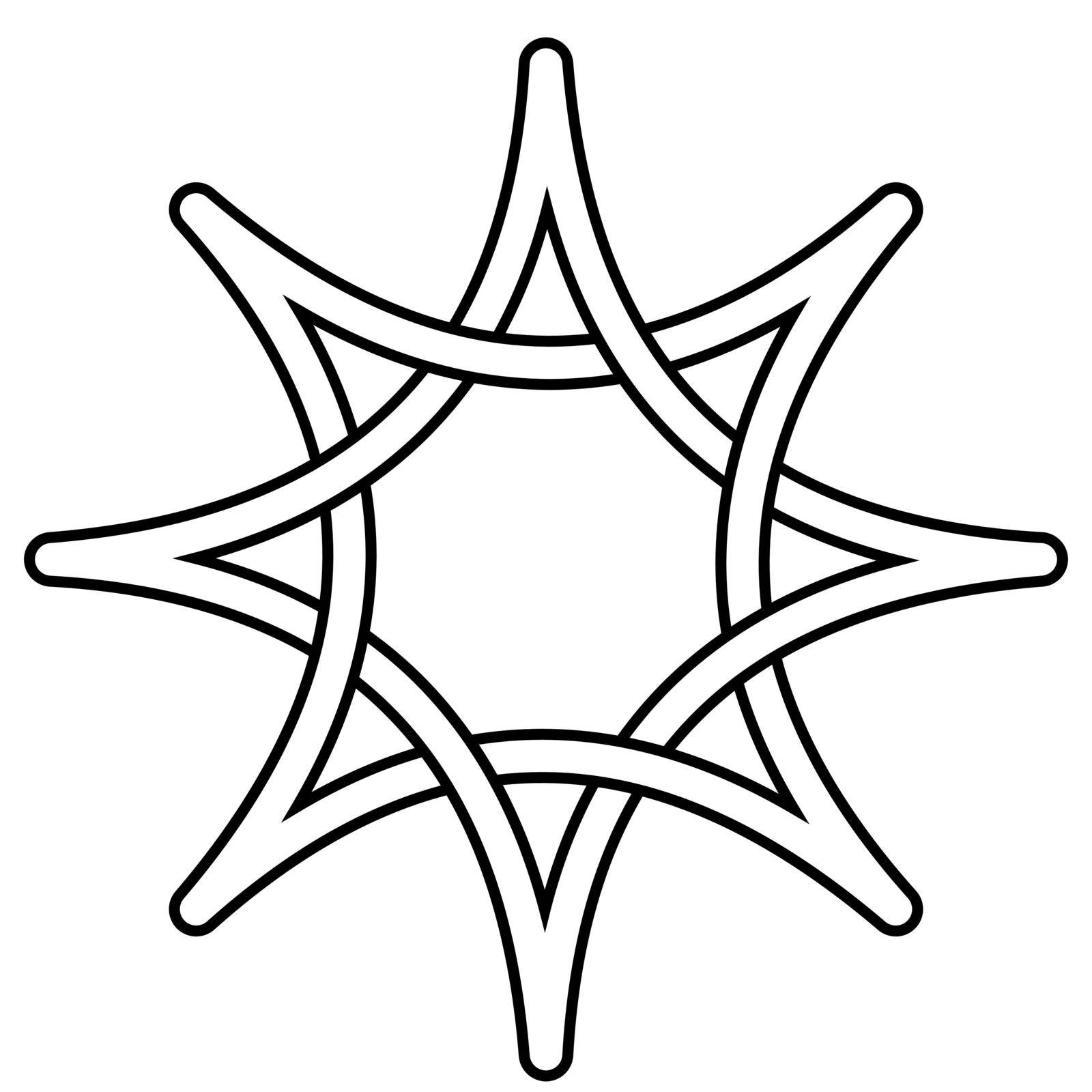 Celtic knot star intertwining rays, vector star symbol of hope and light, intelligent thought, sign wisdom by koksikoks