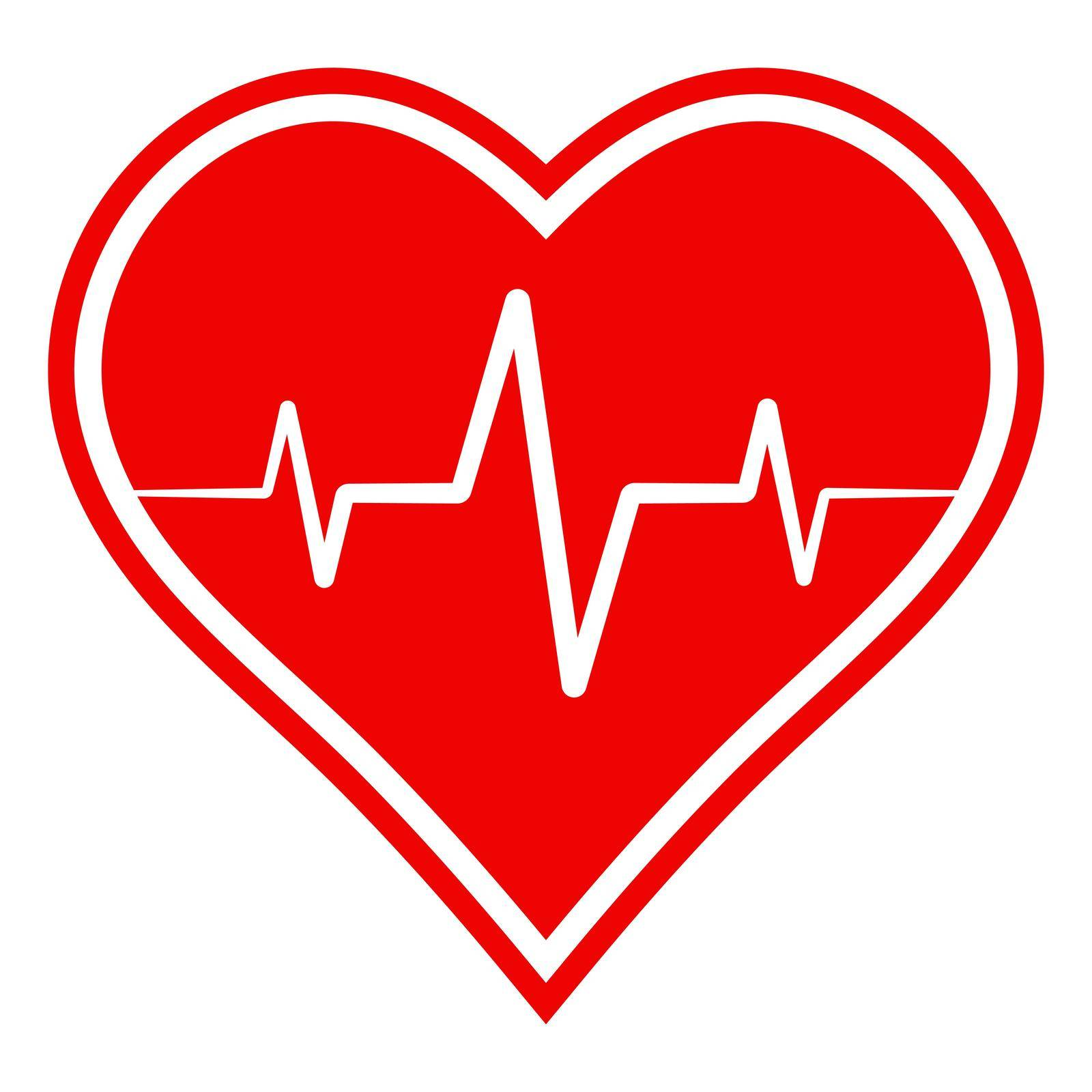 icon health sign, heart with heartbeat, vector sign symbol healthy lifestyle and recovery from diseases by koksikoks