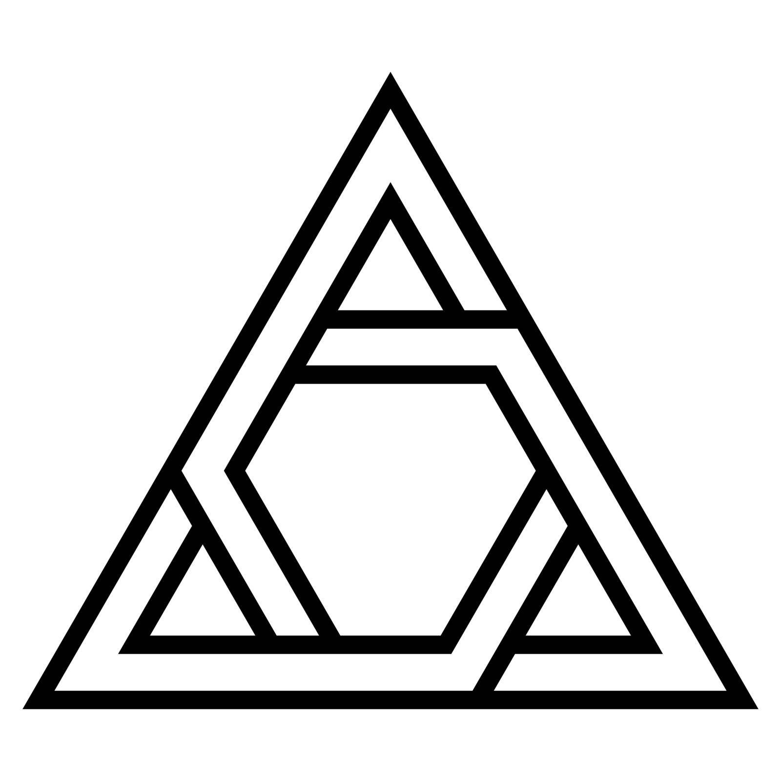 Logo triangle sign closed system, the vector triangle with twisted sides of the bisector by koksikoks
