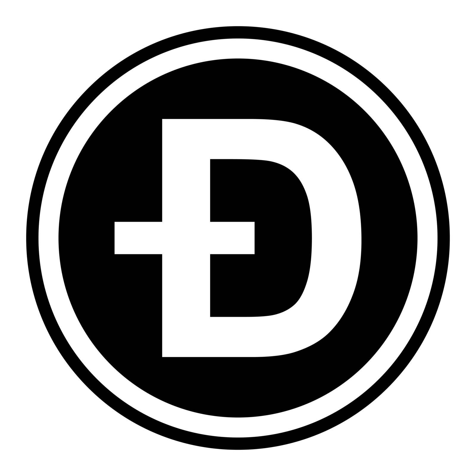 Token symbol of the dogecoin cryptocurrency, vector round token coin dogecoin token promising cryptocurrency by koksikoks