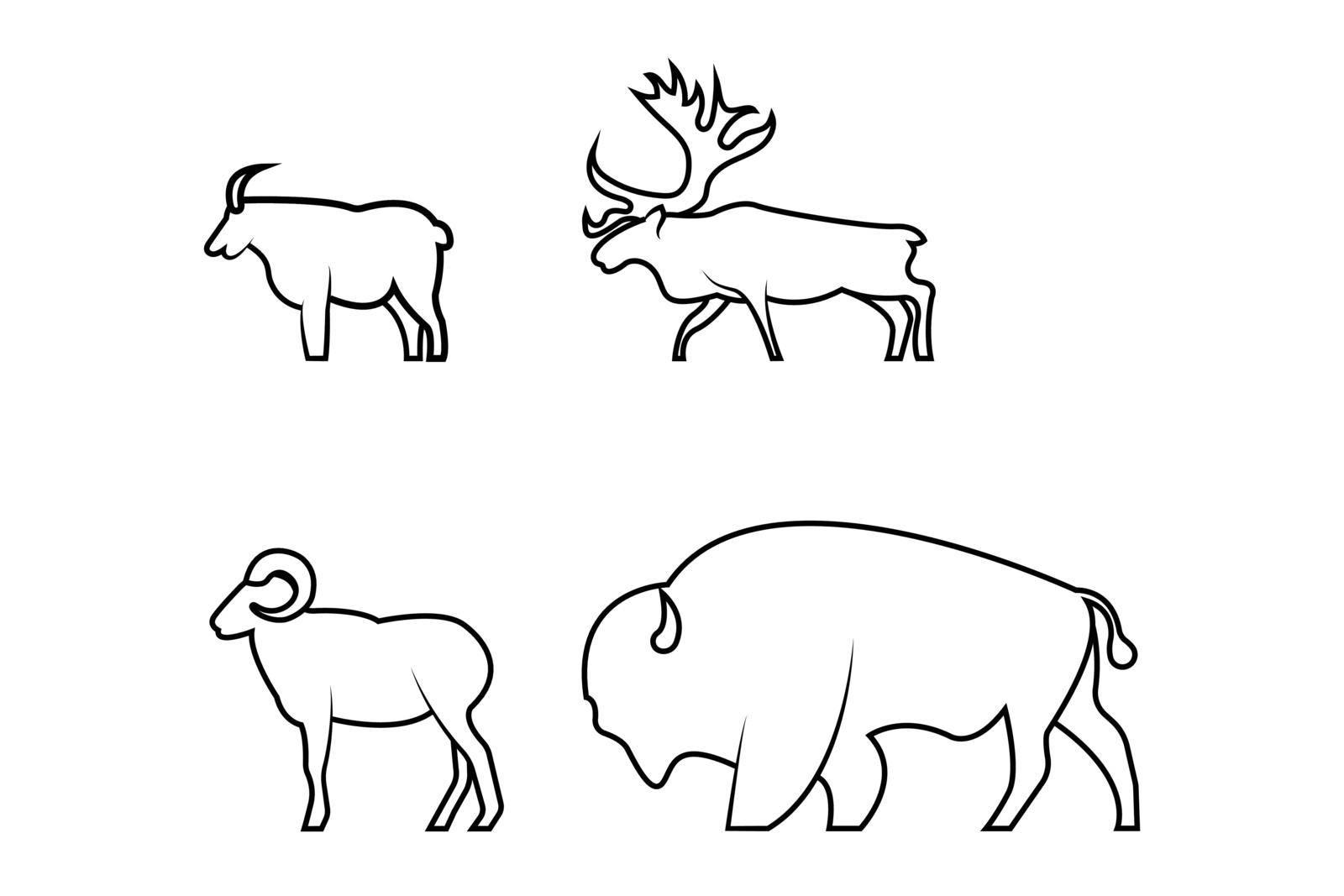 Horned wildlife animals vector illustration on a white background