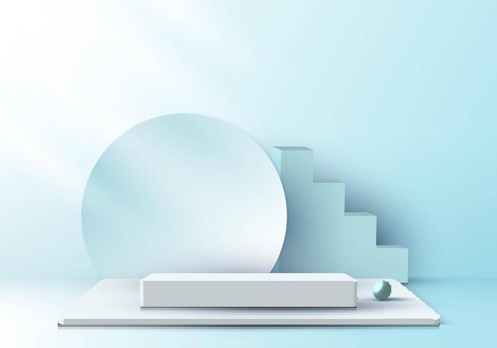3D realistic elegant display white pedestal podium with circle backdrop on soft blue color studio room background with light. You can use for show cosmetic products, stage showcase. Vector illustration