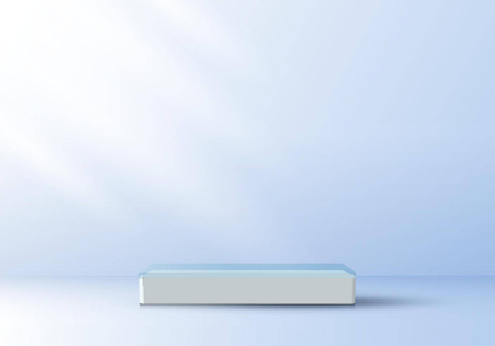 3D realistic elegant display white pedestal podium on top transparency on soft blue color studio room background with light. You can use for show cosmetic products, stage showcase. Vector illustration