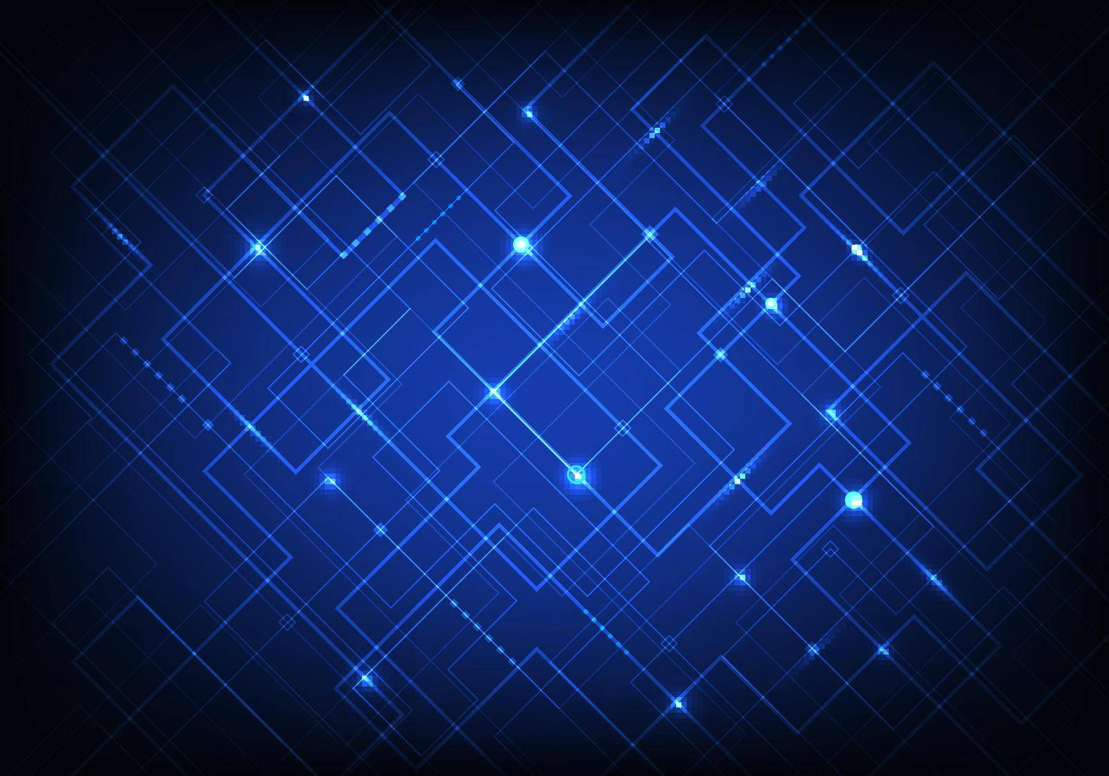 Abstract blue line grid pattern with light on dark blue background modern technology digital concept. You can use for science, tech of future, internet communication, etc. Vector illustration