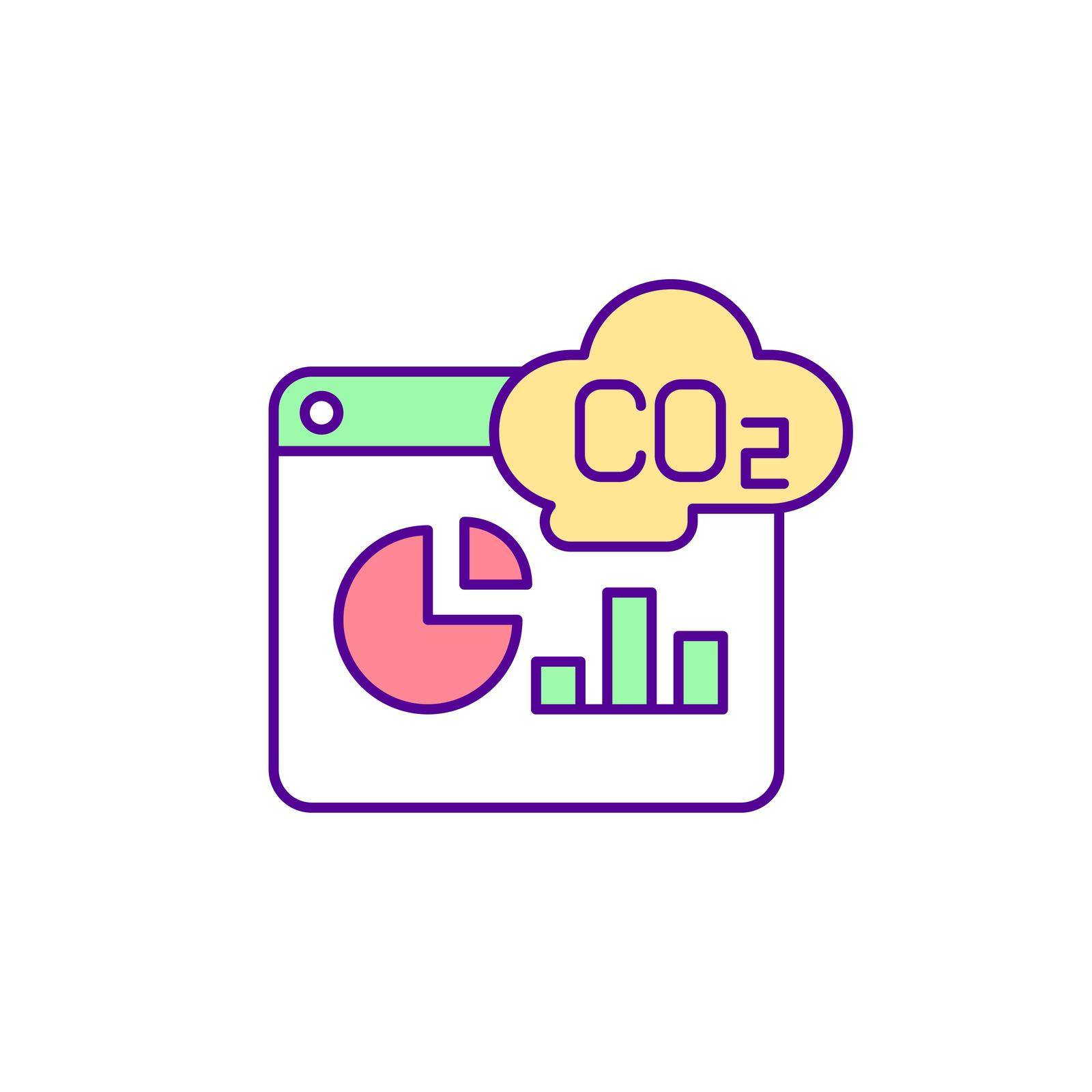 Carbon emissions measurement RGB color icon. Reducing greenhouse gases. Carbon footprint. Fighting global warming. Calculating emissions. Isolated vector illustration. Simple filled line drawing
