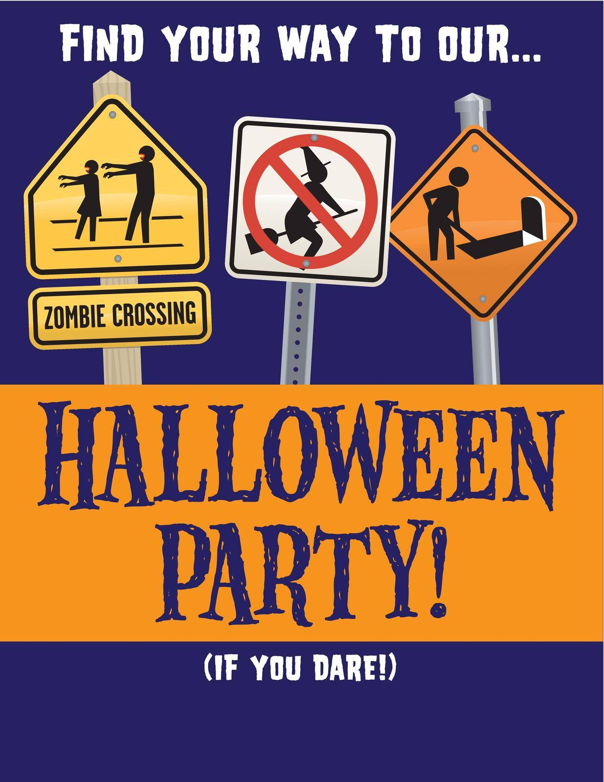 Halloween Party Vector Invitation Template by fiftyfootelvis