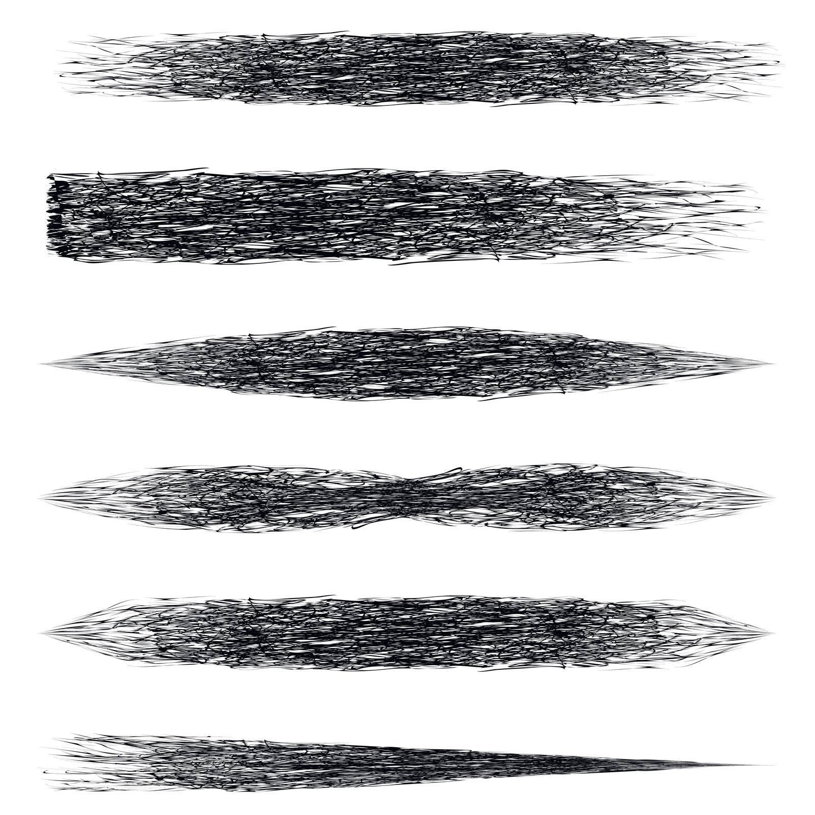 Set brush mascara, vector makeup brush strokes with a mascara brush strokes template for makeup