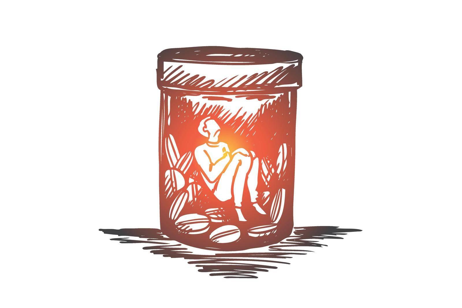 Painkiller, addiction, drugs, disease concept. Hand drawn isolated vector. by Vasilyeva