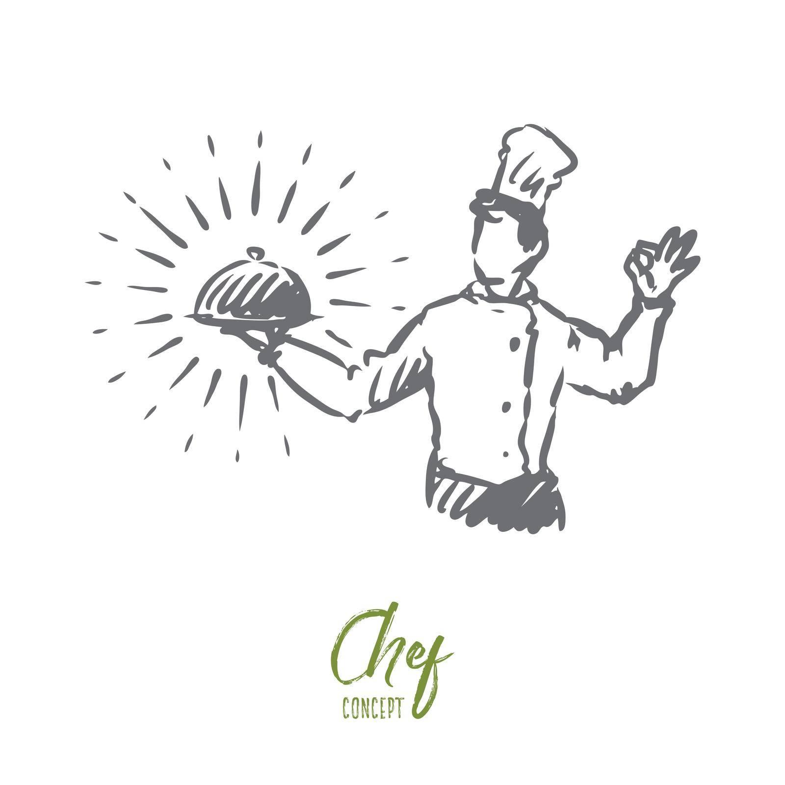 Chef, pot, meal, restaurant concept. Hand drawn isolated vector. by Vasilyeva