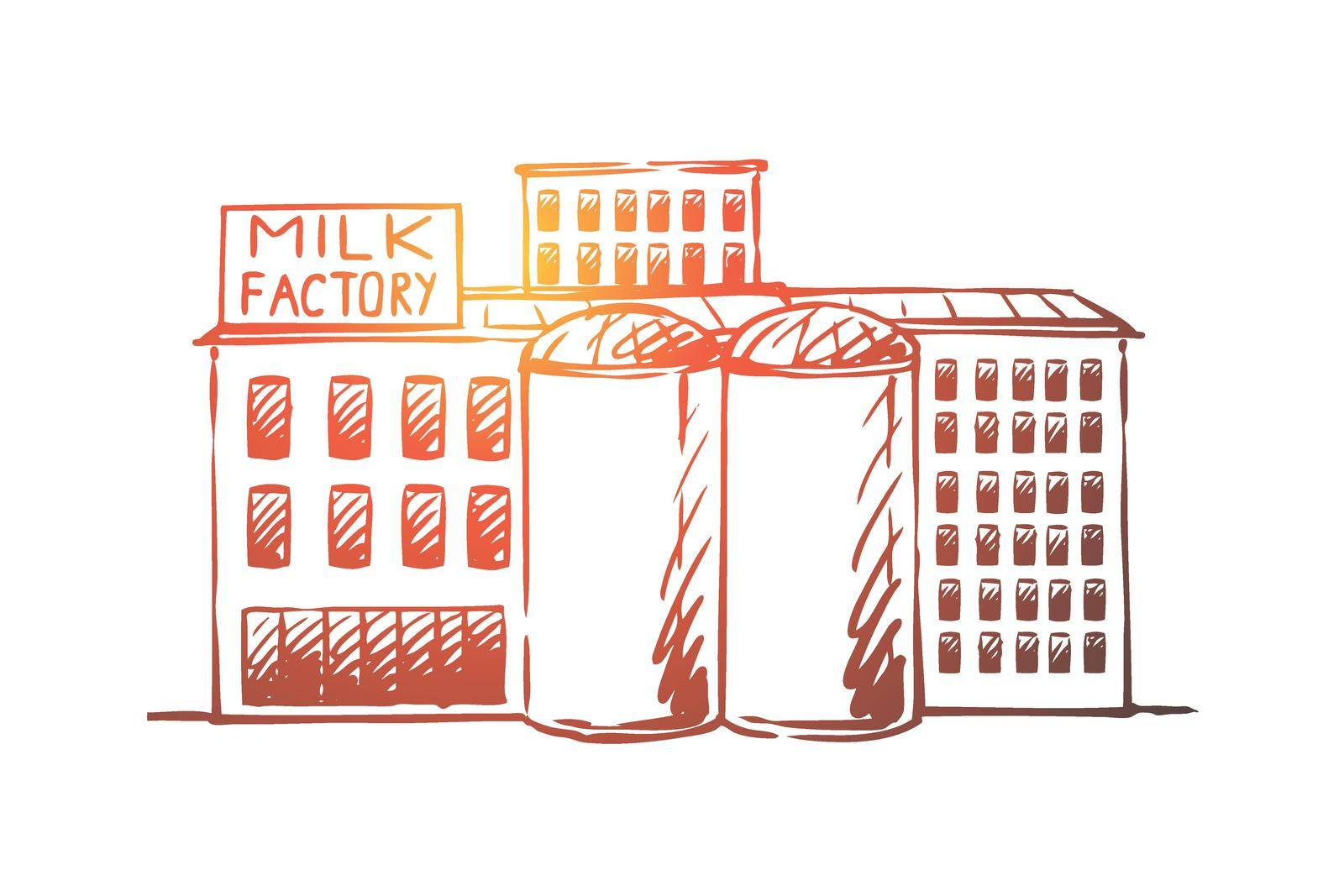 Milk, factory, plant, production, industry concept. Hand drawn isolated vector. by Vasilyeva