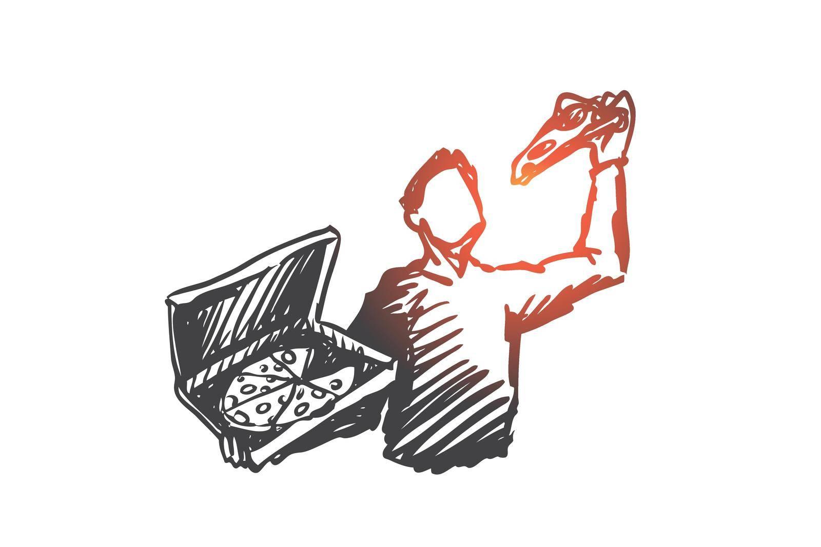 Pizza, man, dinner, food, Italian concept. Hand drawn isolated vector. by Vasilyeva