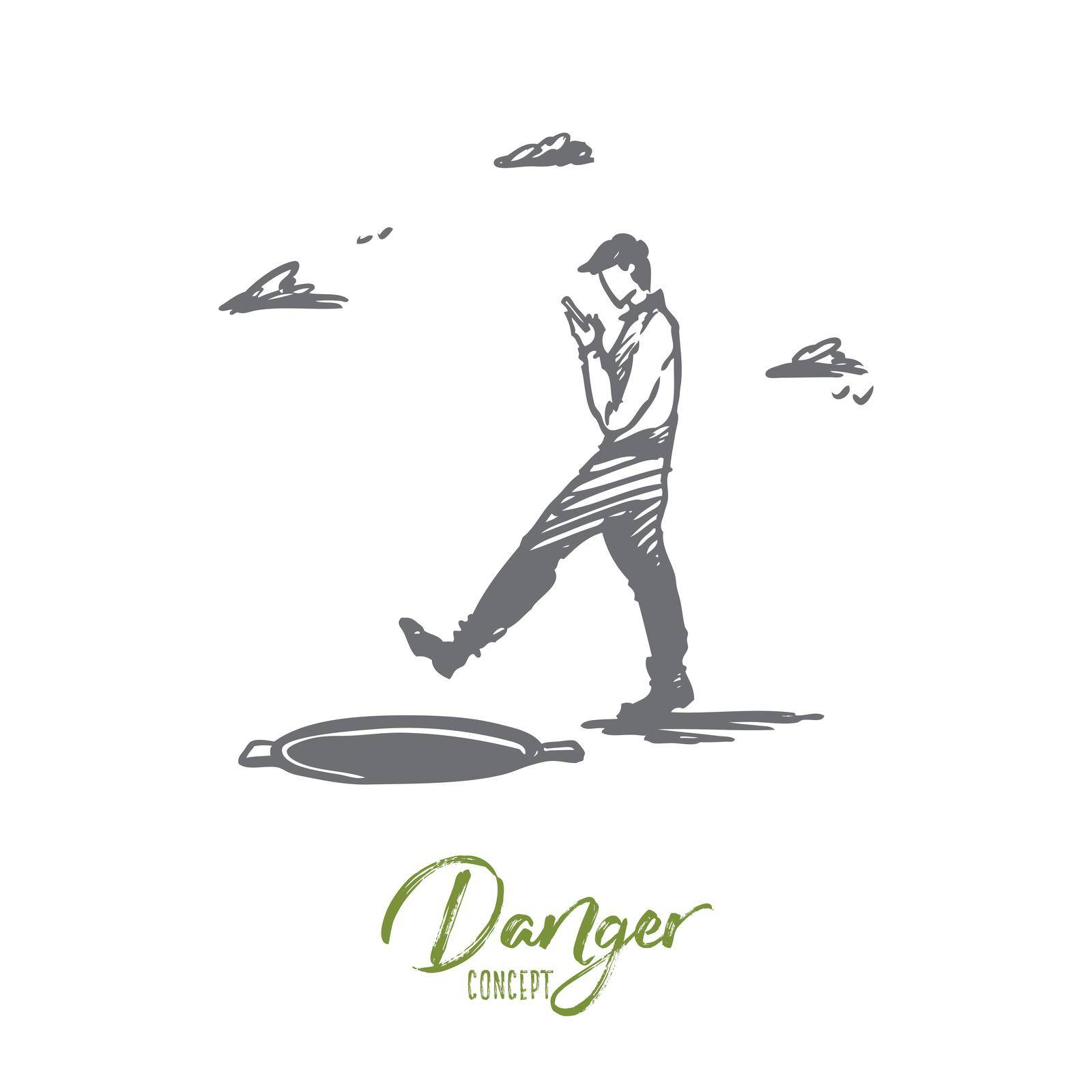 Danger, game, walking, hatch, attention concept. Hand drawn isolated vector. by Vasilyeva