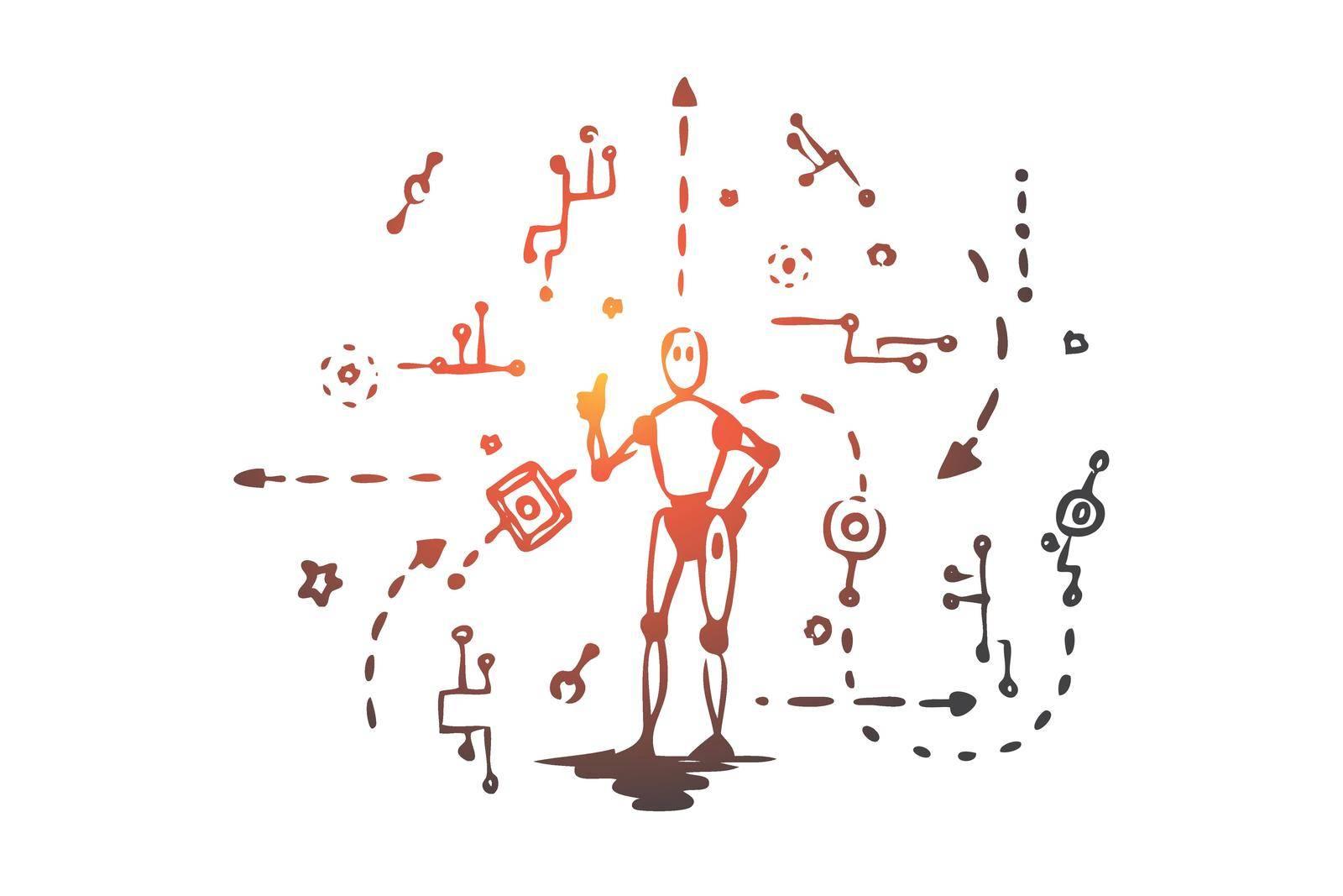 Scheme, machine, robot, technology, android concept. Hand drawn isolated vector. by Vasilyeva
