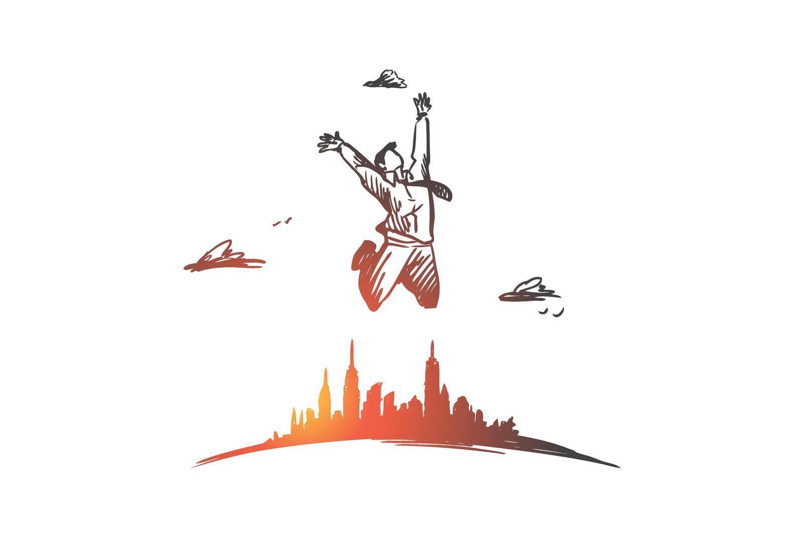 Freedom, businessman, work, happy, free concept. Hand drawn isolated vector. by Vasilyeva
