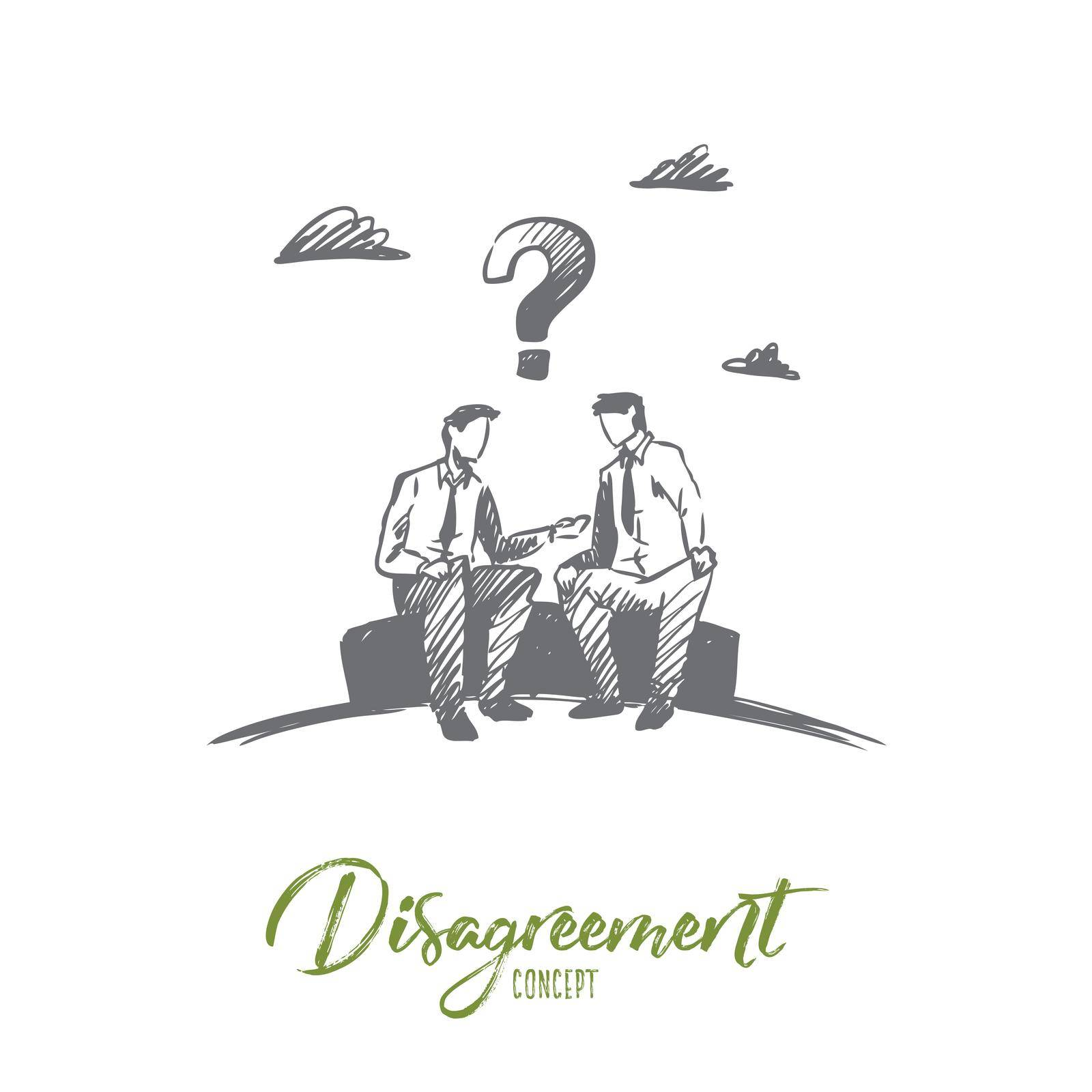 Disagreement, business, people, conflict concept. Hand drawn isolated vector. by Vasilyeva