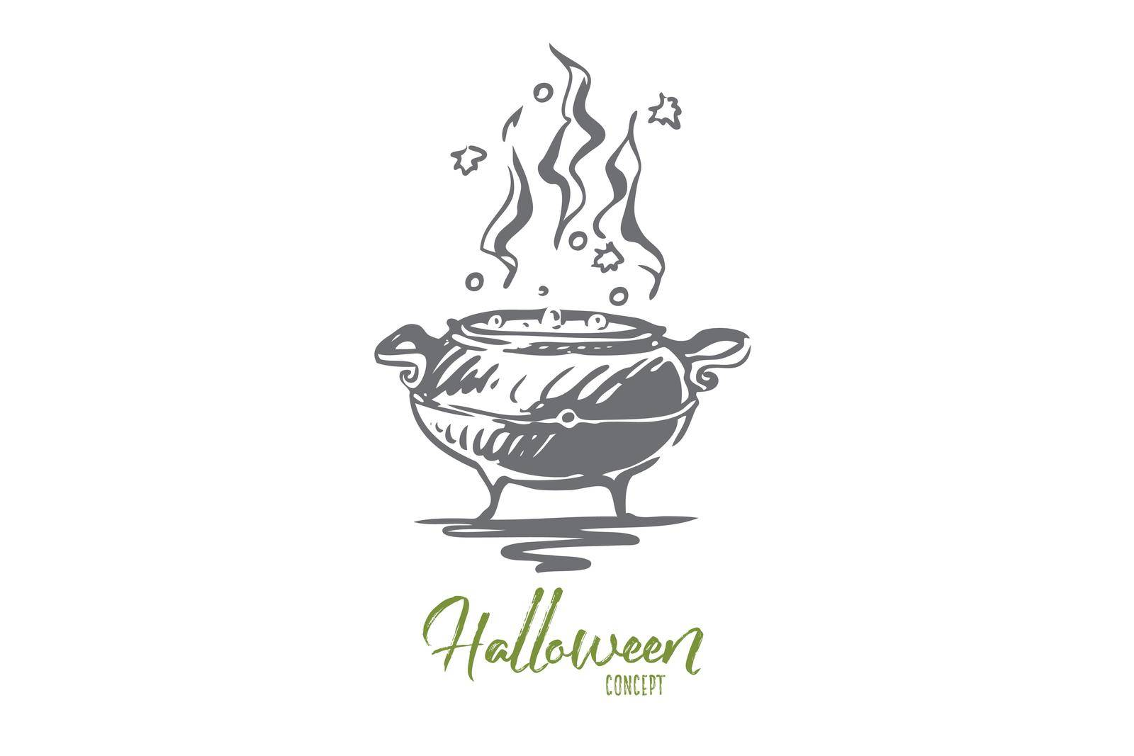 Pot, poison, Halloween, potion, holiday concept. Hand drawn isolated vector. by Vasilyeva