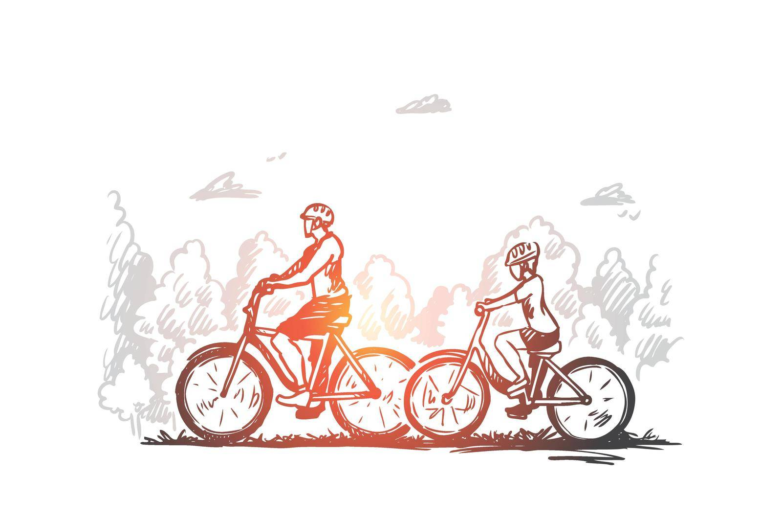 Family, bicycle, sport, happy, lifestyle concept. Hand drawn isolated vector. by Vasilyeva