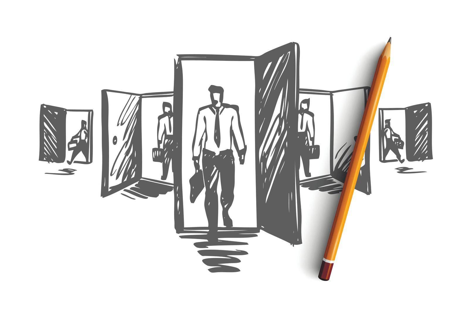 Door, opportunity, job, business, career concept. Hand drawn isolated vector. by Vasilyeva