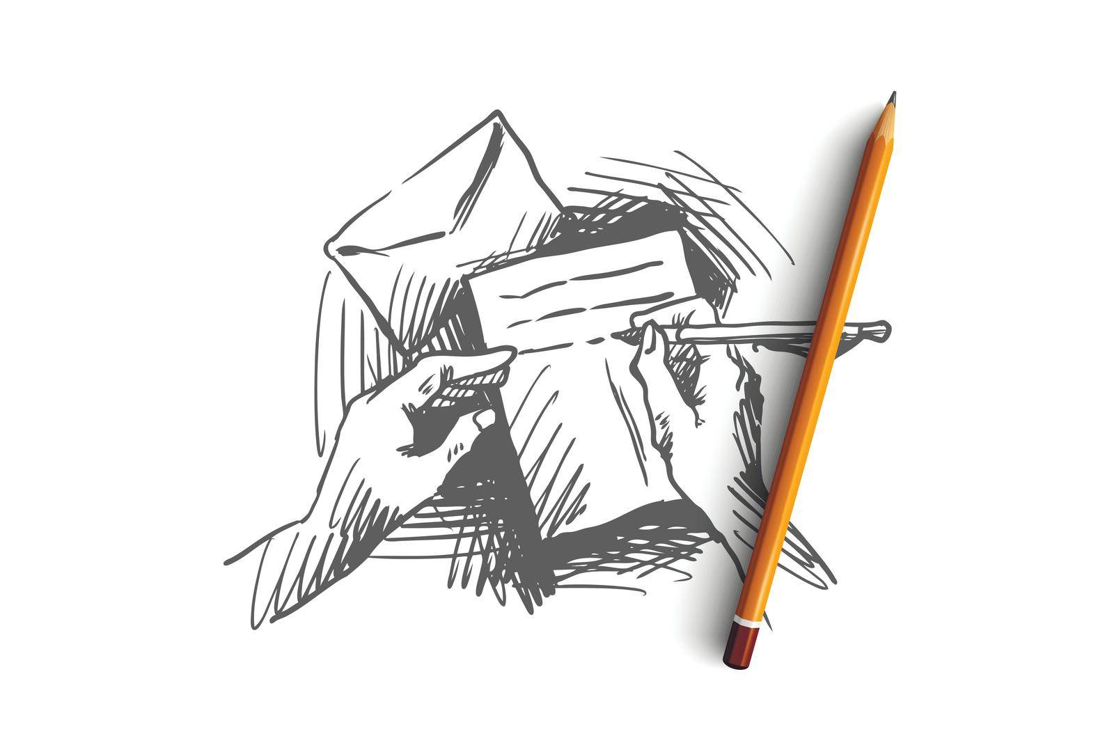 Letter, paper, writing, pen concept. Hand drawn isolated vector. by Vasilyeva