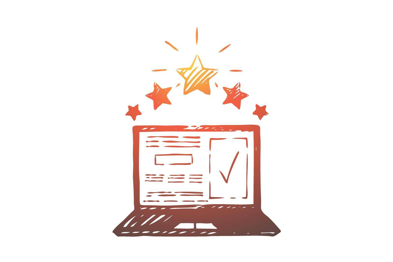 Review, check, rating, vote, opinion concept. Hand drawn isolated vector. by Vasilyeva