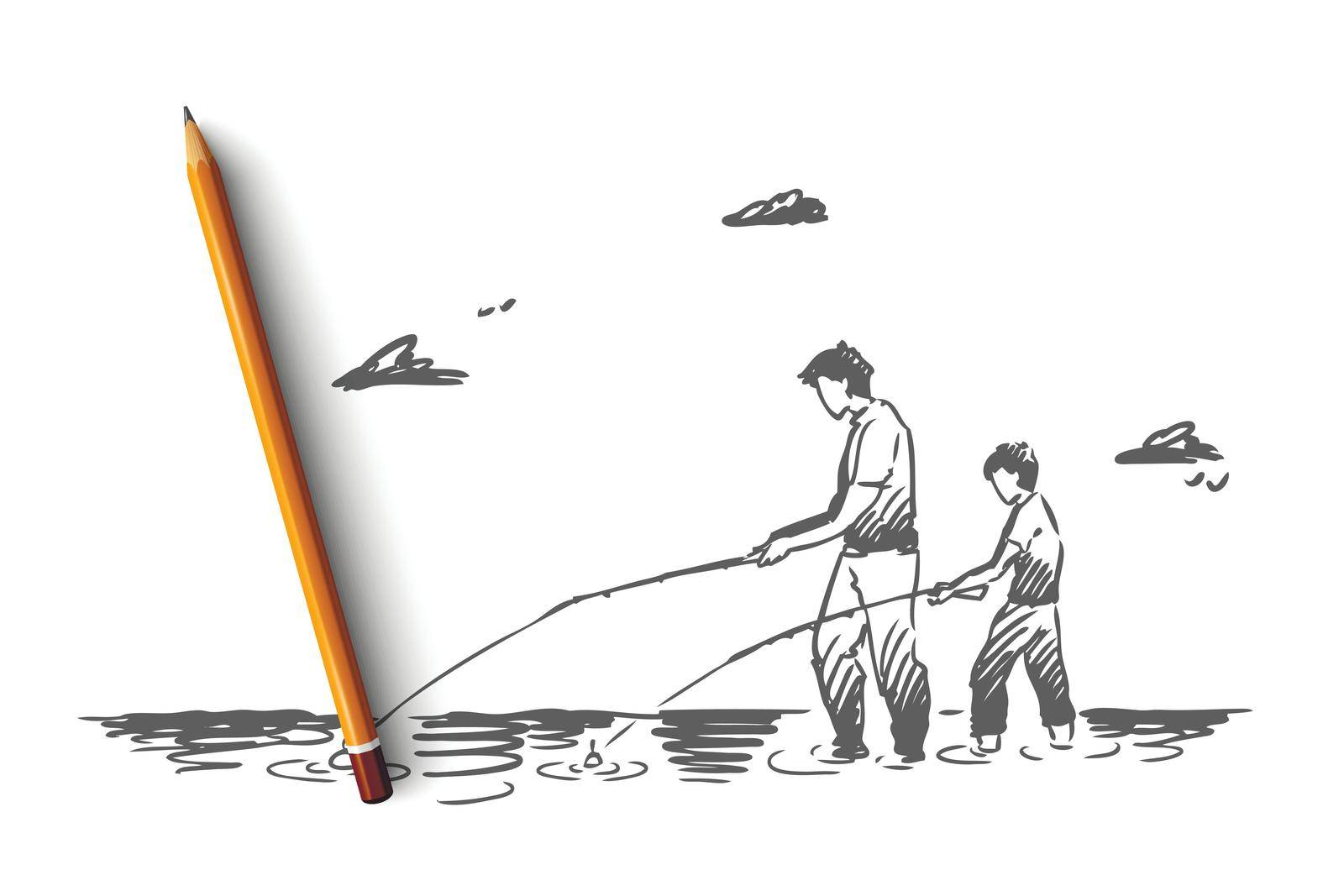 Fishing, river, father, son, catch concept. Hand drawn isolated vector. by Vasilyeva