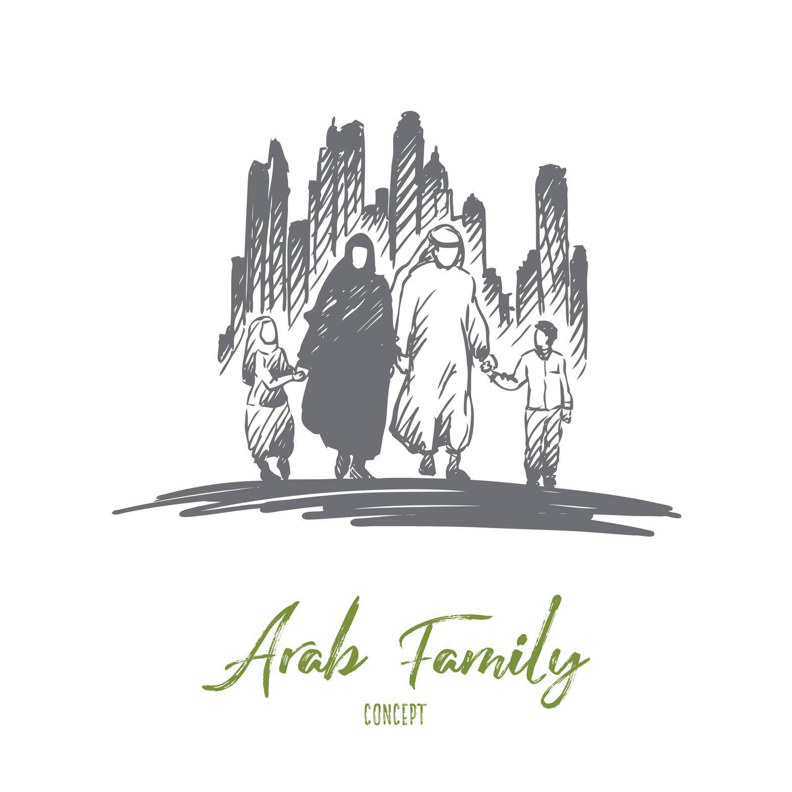 Arab, family, muslim, culture concept. Hand drawn isolated vector. by Vasilyeva