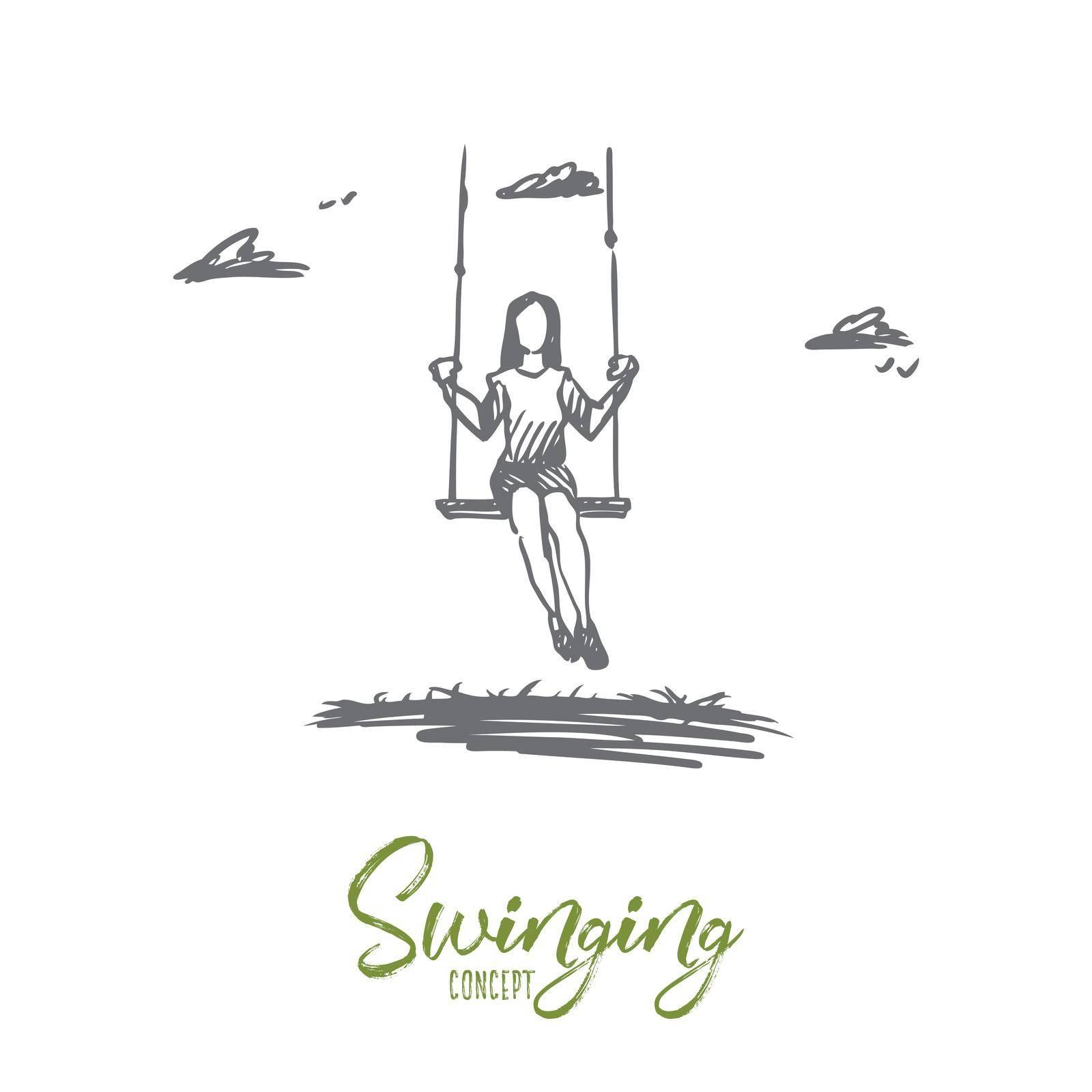 Girl, swinging, playing, fun, activity concept. Hand drawn isolated vector. by Vasilyeva