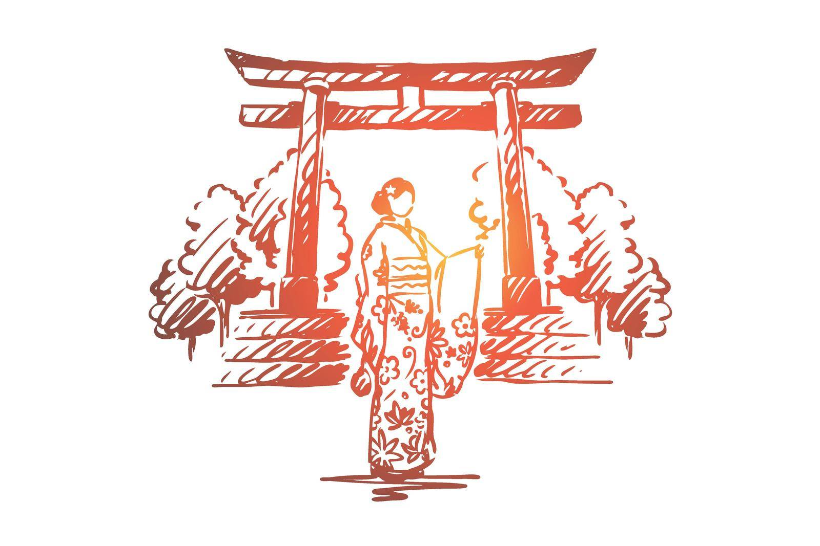 Japan, country, Sakura, traditional, Asia concept. Hand drawn isolated vector. by Vasilyeva