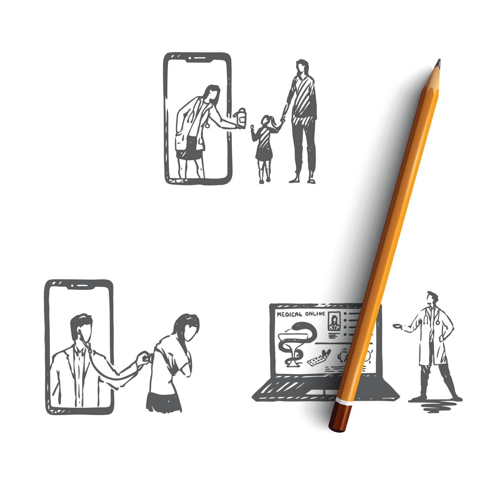 Online medicine - people ordering medicine, having medical examination and reading medical literature from laptop or smartphone screen vector concept set by Vasilyeva
