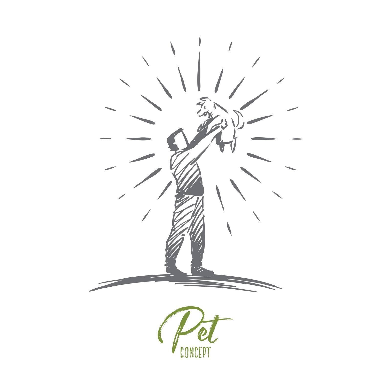 Pet, animal, dog, happy, love concept. Hand drawn isolated vector. by Vasilyeva