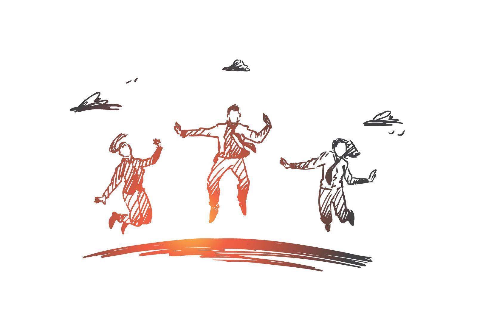 Business, team, success, teamwork concept. Hand drawn isolated vector. by Vasilyeva