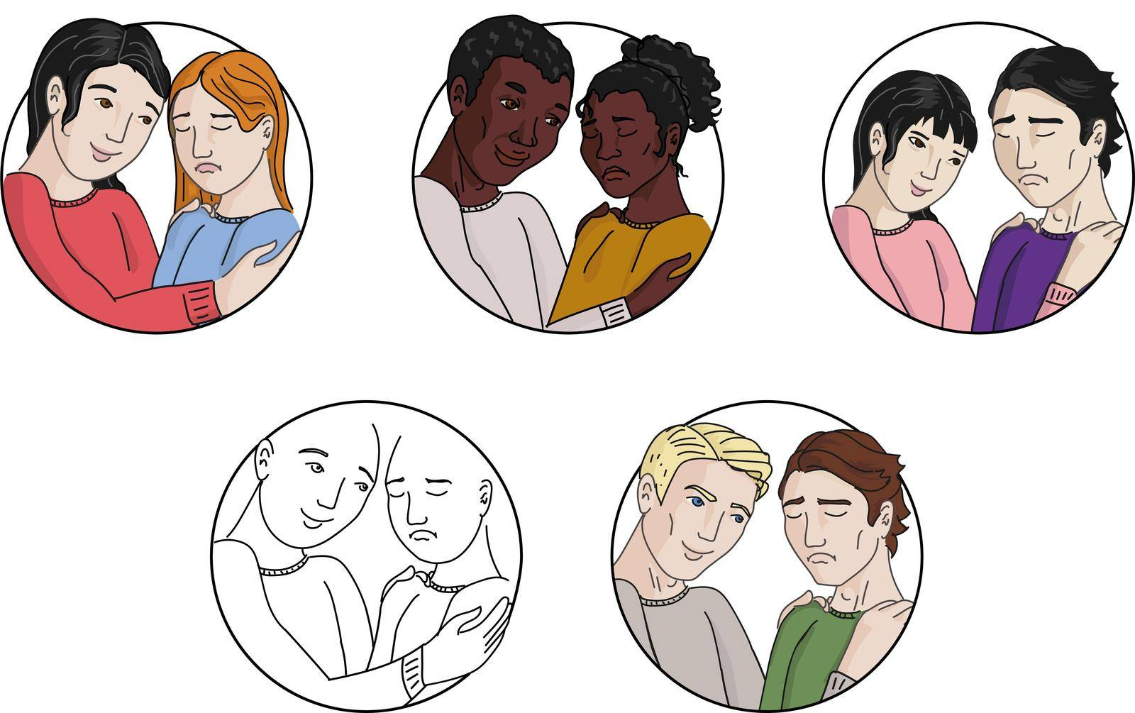 People are calming each other. Love, diversity by Arinase