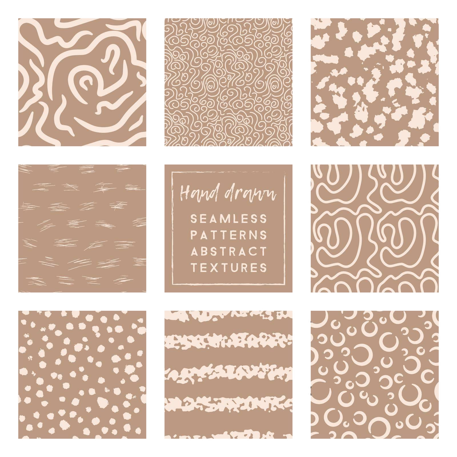 set of taupe and beige seamless patterns with hand drawn simple elements by MariaTem